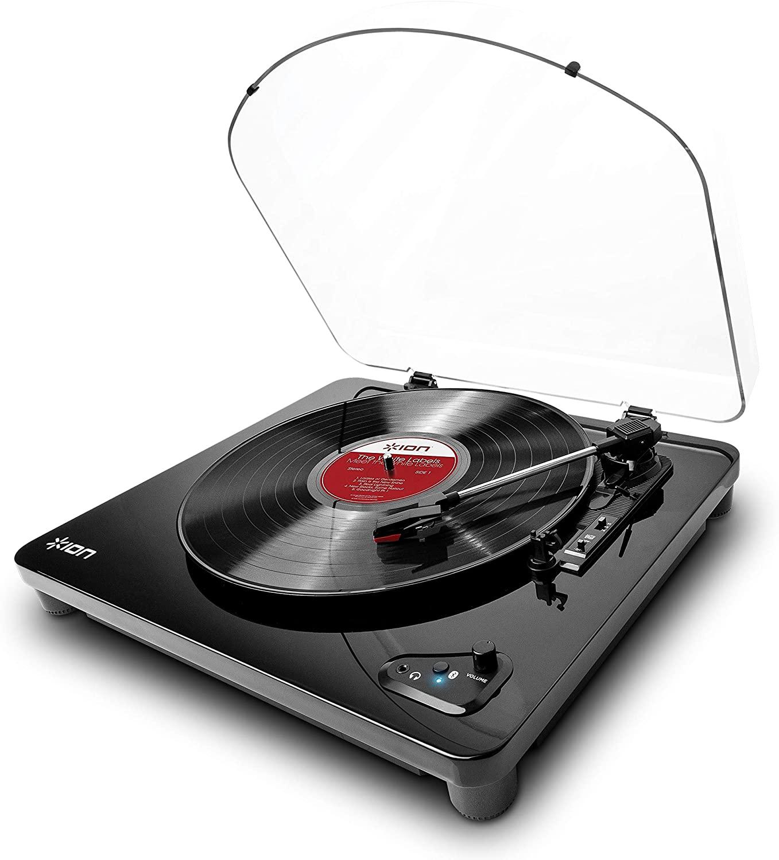 ION Audio Air LP - Platine Vinyle Bluetooth à Trois Vitesses (33, 45 et 78 tours) avec Conversion USB - Finition Noir Brillant