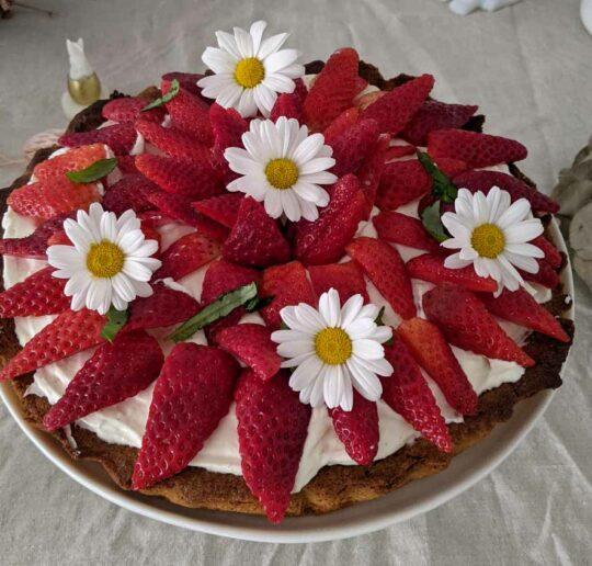 tarte aux fraises sablé Breton et mascarpone